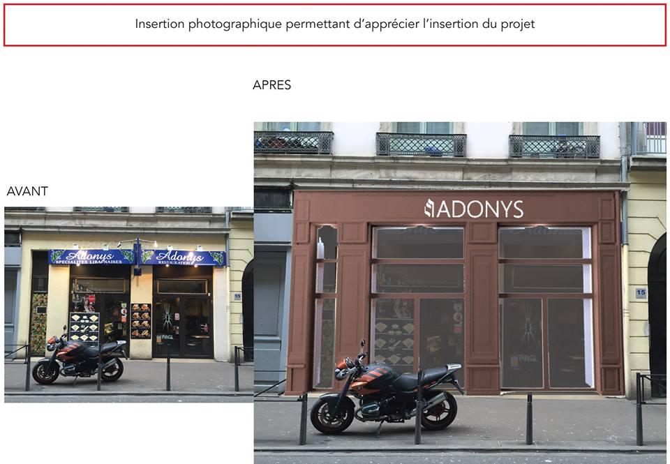 Projet façacde Adonys Lyon, Dossier préalable, Dossier enseigne, travaux, réalisation,, Pauline Rudolf, Architecte d'intérieur, région de Lyon
