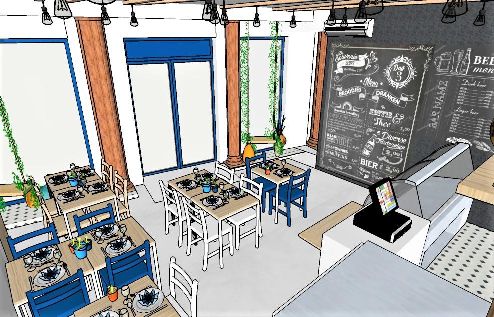 Projet epicerie resto grec Lyon 6 3D et suivi de chantier, Pauline Rudolf, Architecte d'intérieur, région de Lyon