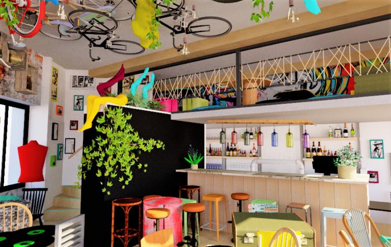 3D ruins bar, Lyon guillotière 3e, Pauline Rudolf, Architecte d'intérieur, région de Lyon