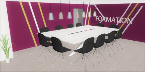 Projet 3D salle de formation Laboratoire d'hygiène lyonnais, Pauline Rudolf, architecte d'intérieur Lyon France